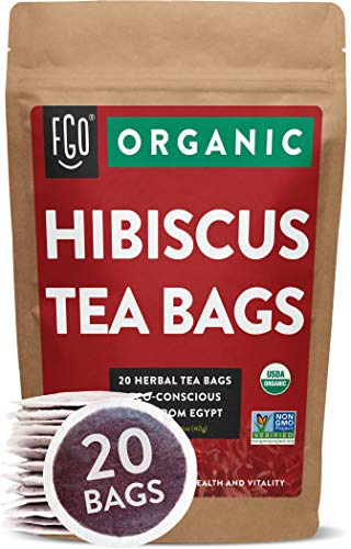 Organic Hibiscus Tea Bags | 20 Tea Bags | Eco-Conscious Tea Bags in Kraft Bag | Raw from Egypt | by FGO