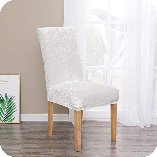 Amazon Brand – Umi Fundas para sillas de Comedor elásticas Suave Blanco(Juego de 4)