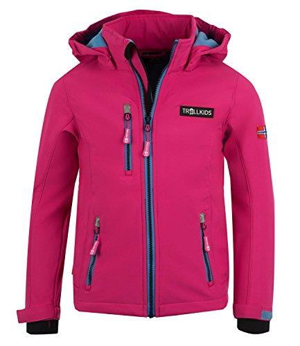 Trollkids Mädchen Softshell Jacke Preikestolen, Pink/Mittelblau, Größe 140