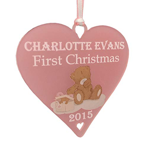 Babies 1st Christmas Bauble Teddy Heart Pink Xmas Tree Decorations Personalised Girls Baby Name Ornament Cute First Christmas Baby Plaque New Baby Girl Keepsake - LittleShopOfWishes (Pink Acrylic)