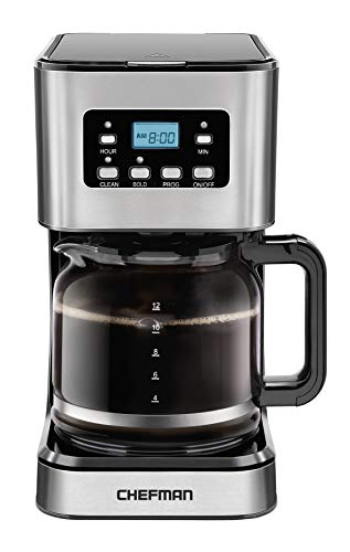 Chefman 12-Cup Programmable Coffee Maker, Electric Brewer, Auto Shut Off, Digital Display w/Auto-Brew Function, Anti-Drip Pot, Reusable Filter for Fresh Grounds, Square Stainless Steel, Glass Carafe