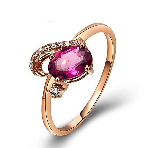 Beydodo Rosegold 750 Ringe für Frauen mit Diamant Halbherz mit Oval Turmaline 0.7ct Verlobungsringe Rosegold Trauring 56 (17.8)
