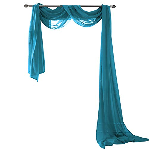 """MEMIAS Luxury Window Sheer Elegant Voile Curtain Scarf for Home, Birthday Party, Wedding Decoration, 1 Panel 54"""" W x 216"""" L, Peacok"""