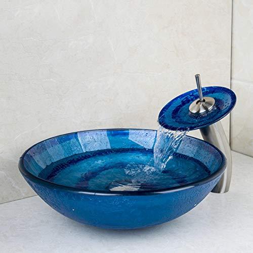 ABDD Lavabo de cerámica Bule beauty Vessel Vanity Hand Painting Lavabo Lavabo Encimera Recipiente Vaso Juego de grifo de lavabo de vidrio templado