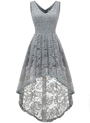MuaDress 6666 Damen Kleid Ärmellose Cocktailkleider Knielang Abendkleider Elegant Spitzenkleid V-Ausschnitt Asymmetrisches Brautjungfernkleid Grau L