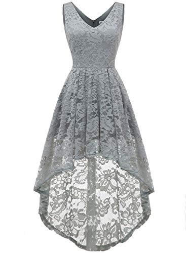 MUADRESS 6666 Women's Sleeveless Hi-Lo Lace Formal Dress Cocktail Party Dress V Neck Grey Large