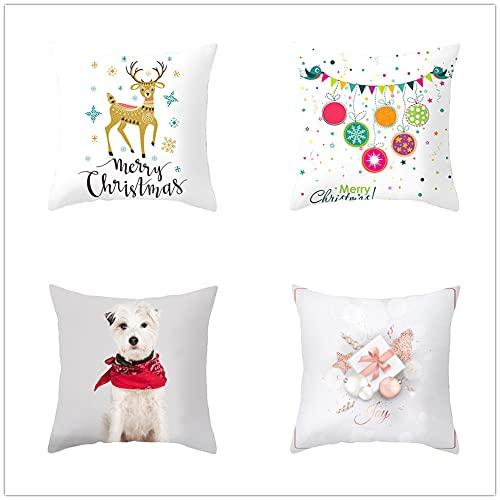 Fundas de Cojines 40x40cm Juego de 4 Funda Cojin Decorativas de Impresión a Doble Cara Cuadradas Cojines Sofa Cushion Soft Velvet Funda Cojin Blanco Rojo
