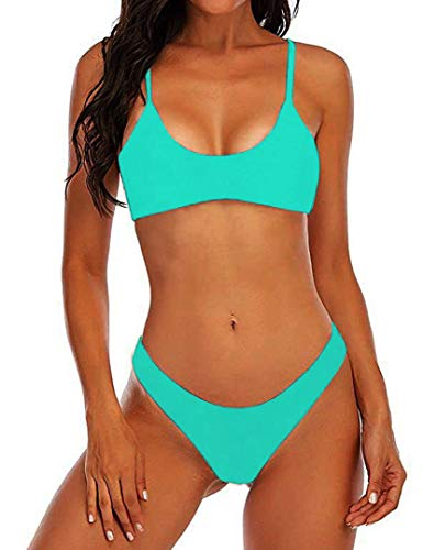 Suvimuga Womens Sexy Thong Bikini Swimsuit Scoop Neck Padded Push up Brazilian Bikini Set LakeGreen M
