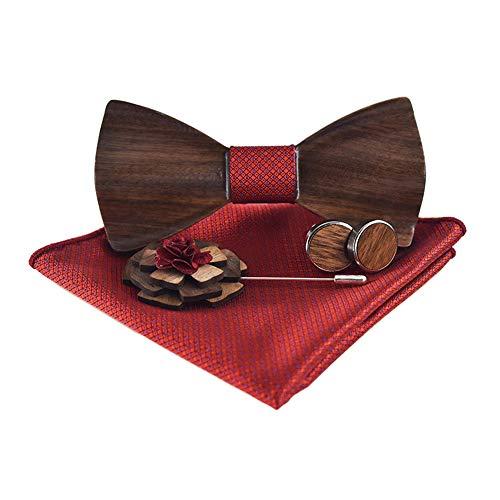 G6shopping Pajarita de madera de nogal hecha a mano broche cuadrado de bolsillo y juego de gemelos