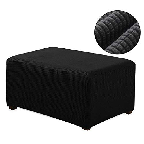 WOMACO Ottoman Slipcover Stretch Footrest Sofa Cover Storage Ottoman Cover Protector - Black, Small