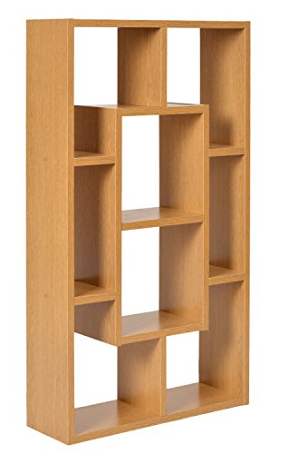 Ts-ideen–Estante, Armario, Mueble de 8compartimentos, madera con efecto roble, mesa, 48x 85cm, para guardar CD, DVD, libros, televisión