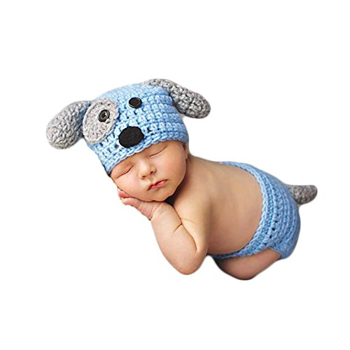 Baby Photography Props Boy Girl Photo Shoot Outfits Newborn Crochet Costume Infant Knitted Clothes Puppy Hat Shorts (Blue)