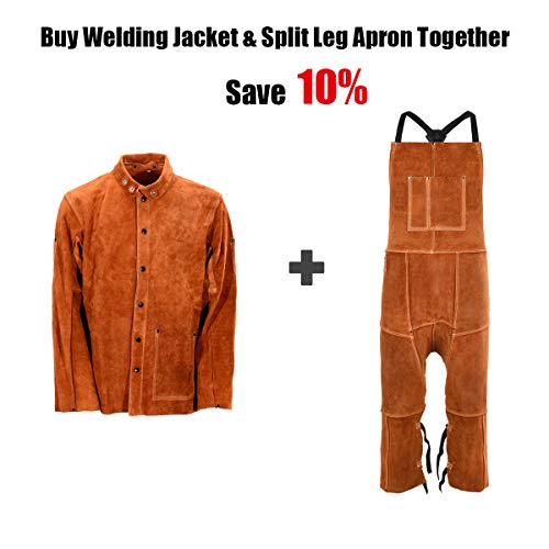 Leather Welding Apron Split Leg for Men - Spark | Flame | Heat Resistant Bib Apron by QeeLink - Heavy Duty Cowhide Leather - 24 x 42-inch, One Size Fit Most