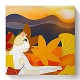 Beaxqb Pintura por números Gato Blanco en la Puesta de Sol Kits de Regalo de Pintura al óleo para para decoración del hogar 40x40cmSin Marco