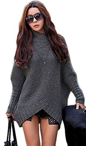 Mikos*Damen Poncho Strick Pullover Jacke Cardigan Fledermausärmel Japan Style SM Schwarz Grau (423) (Graphite)