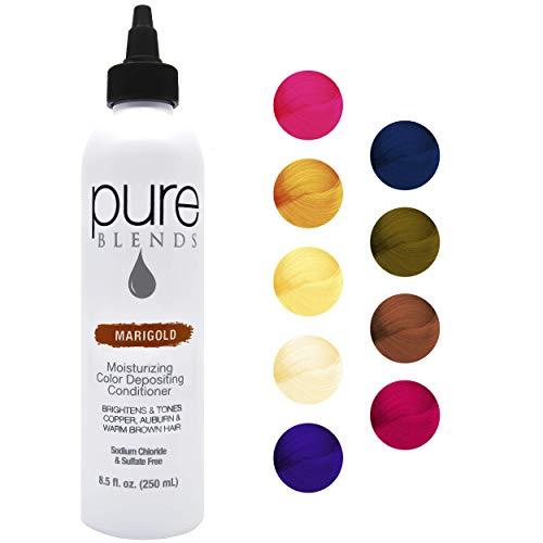Pure Blends Marigold Moisturizing Color Depositing Conditioner - Eliminates Color Fade - Brightens & Tones Copper, Auburn & Warm Brown Hair - Sulfate & Sodium Chloride Free - 8.5 Oz