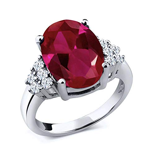 Gem Stone King 925 Sterling Silver Red Created Ruby and White Topaz Women's Ring (5.40 Ct Oval) (Size 5)