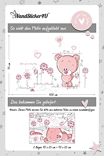 WandSticker4U- Wandtattoo BABY BÄR in rosa - 7