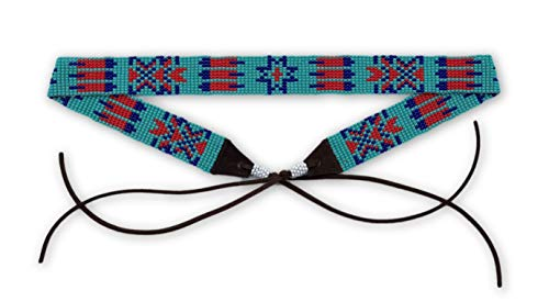 Hat Band Cowboy Western Beaded Hatband Turquoise Red Blue, Women Men, Aztec, Handmade 7/8 x 21.5 Inches (Turquoise and Red)