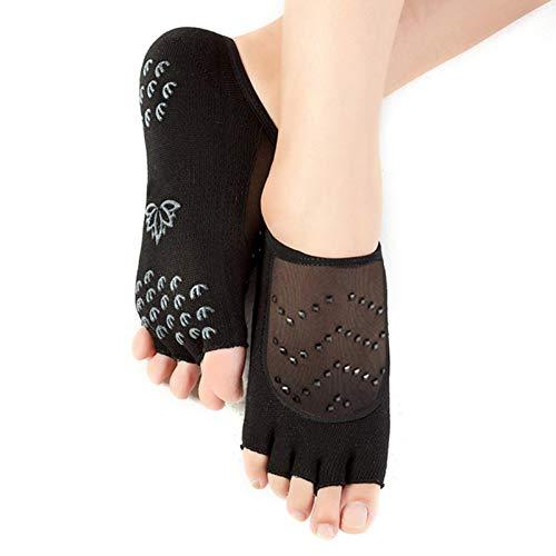 lossomly - Calcetines con dedos abiertos y abiertos, antideslizantes, para yoga, pilates, barra, ballet, danza