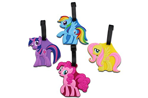 Finex 4 Pcs Set My Little Pony Silicone Travel Luggage Baggage Identification Labels ID Tag for Bag Suitcase Plane Cruise Ships with Belt Strap