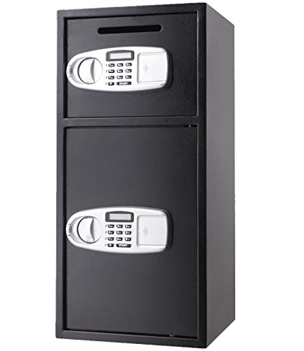OrangeA Depository Safe Double Door Digital Depository Drop Safe with Drop Slot Safe Cash Drop Box for Home and Office Security