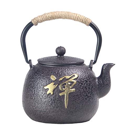 AMYAO Tetera Teapot Tetera de Hierro Fundido con infusor removible Estilo japonés Tetsubin Tetera 0.6L, Trabajo Hecho a Mano Puro Retro Tetera de Hierro Fundido, Juego de té 1.2L