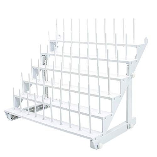 Sew Tech Thread Rack for 60 Spools or 30 Cones, Wall Mounted Large Thread Holder with Long Pegs, Bright White Plastic Thread Stand for Embroidery Serger Sewing Thread Storage and Hair Braiding