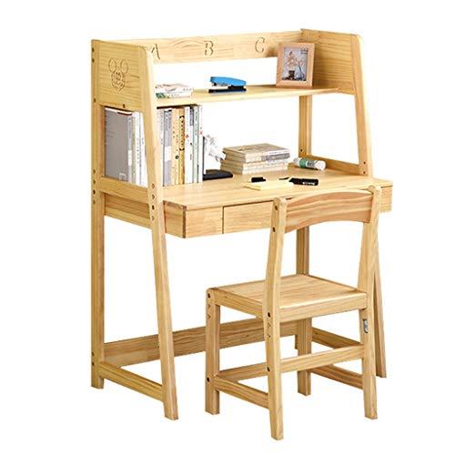 Bureau d'enfant Table d'étude Bureau et Chaise d'école Primaire Table d'ordinateur relevable (Color : Wood Color)