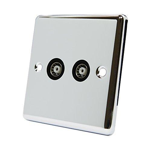 AET 2-voudige coaxiale tv-antenne-doos CPC2GTVBL, klassiek, aansluiting, chroom, gepolijst, binnenkant zwart onderkleed