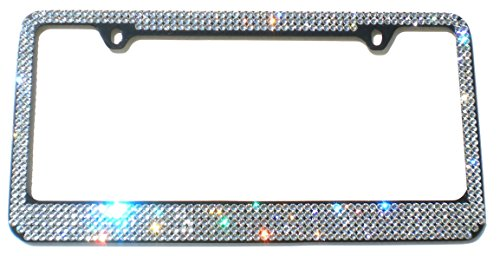Cool Blingz 5 Row Crystal License Plate (Black) Frame Rhinestone Bling Made with Swarovski Crystals -  SW5Crys20B