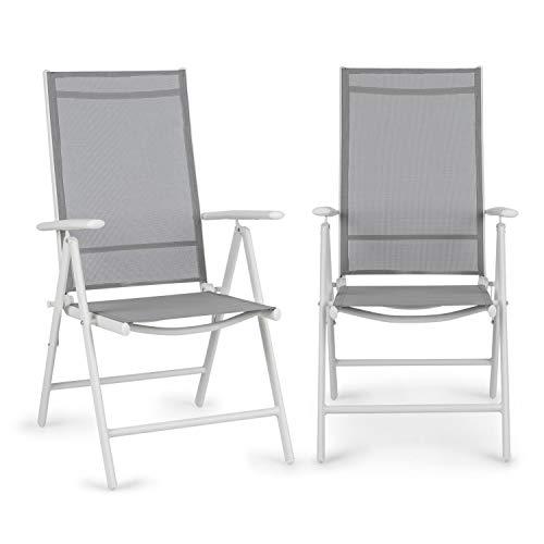 blumfeldt Almeria Garden Chair - Gartenstuhl, Klappstuhl, 2er-Set, 56,5 x 107 x 68cm, Rückenlehne mit 7 Positionen, luftdurchlässiges & wasserresistentes Textilgewebe, Aluminium, Taupe