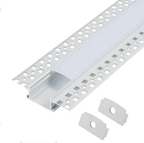 Aluprofil 6x1 Meter Aluminium Trockenbau-Profil-Leiste eloxiert für LED Streifen - Set inkl Abdeckung-Schiene milchig-weiß (opal) und Endkappen