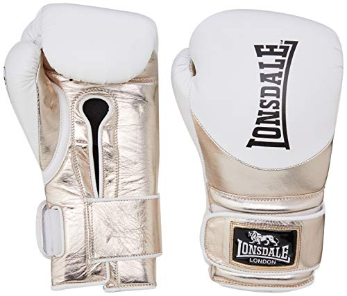 Lonsdale Herren L60 Leather Training Gloves Boxhandschuhe, Weiß/Matalic Gold, 454 g
