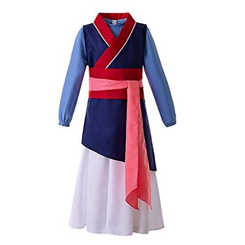 Lazzboy Frauen Prinzessin Kleid Blau Film Cosplay Kostüm Kimono Mulan Chinesisches Traditionelles Hanfu Damen(Blau,S)