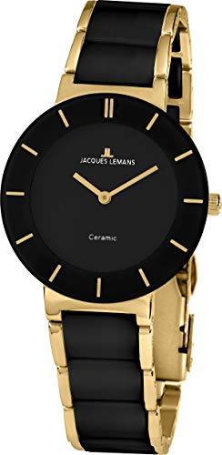 JACQUES LEMANS Damen Analog Quarz Uhr mit Edelstahl Armband 1-1947E