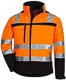 Nitras Motion Tex Viz Giacca da Lavoro in Softshell - Alta Visibilità - con Rifinitura Riflettente 3M - Arancione