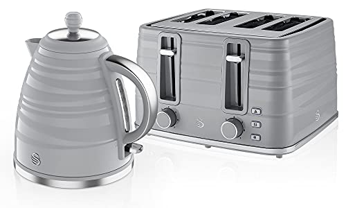 Swan Symphony Kettle and 4-Slice Toaster Set in Grey, Contemporary Design, Energy Efficient, Large Capacity, STP3054GRN