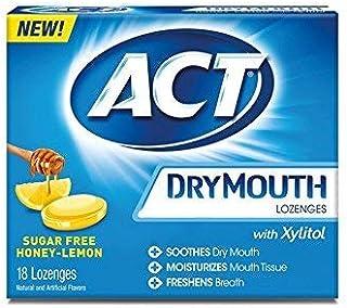 ACT Dry Mouth Honey Lemon Lozenges, 18 Lozenges Each (Pack of 6)