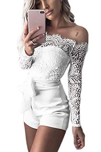 Women Lace Jumpsuits Bodycon Casual Elegant Belt Short Pant Romper White L