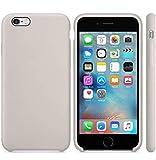 Funda de Silicona Silicone Case para iPhone 6 Plus, iPhone 6S Plus, Tacto Sedoso Suave, Carcasa Anti Golpes, Bumper, Forro de Microfibra… (Gris Piedra)