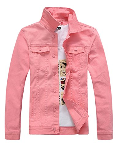 DSDZ Men`s Classic Slim Fit Motorcycle Denim Jacket Coat Pink S(Asian L)