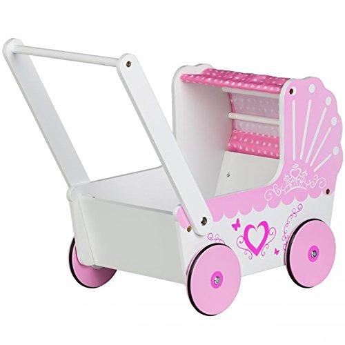 Eco Toys Holzpuppenwagen Holzwagen Holzspielzeug Lauflernwagen Schiebwagen Lauflernhilfe Holzschiebwagen Spielwagen Laufwagen Kinder Mädchen