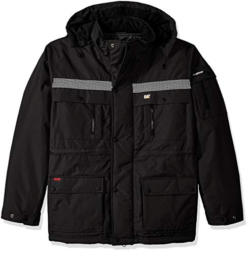 Caterpillar Men's Heavy Insulated Parka Coat, Black, Large