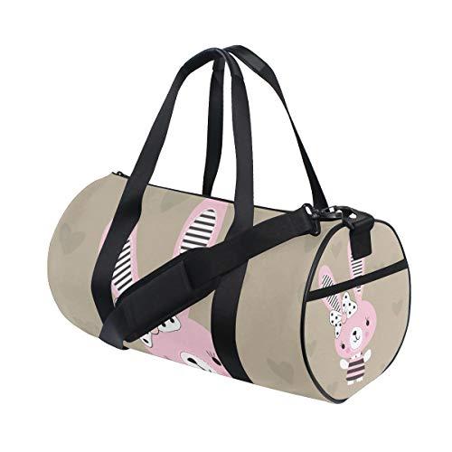 ZOMOY Sporttasche,Netter Osterhase Auf Herzen,Neue Druckzylinder Sporttasche Fitness Taschen Reisetasche Gepäck Leinwand Handtasche