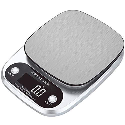 FREELX Báscula de Cocina Digital con Pantalla LCD Retroiluminada de Precisión, Báscula de Cocina Multifunción de 10 kg con 4 Medidas, Función de Tara