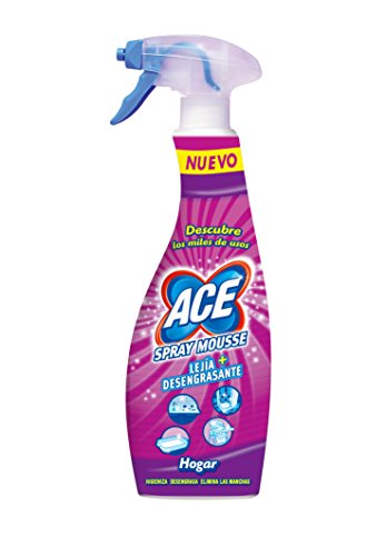 Ace - Spray Mousse + Lejía desengrasante - Hogar y ropa - 700 ml - [pack de 5]