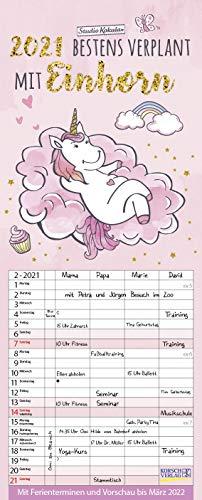 Familienplaner Einhorn 2021: Familienplaner, 4 Spalten mit viel Platz. Hochwertiger Familienkalender mit netten Sprüchen, Ferienterminen und Vorschau bis März 2022. 19 x 47 cm.