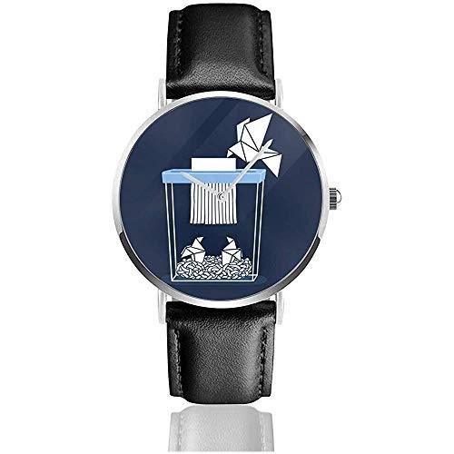 Paper Mom Origami Watches Reloj de Cuero de Cuarzo con Correa de Cuero Negra para Regalo de colección