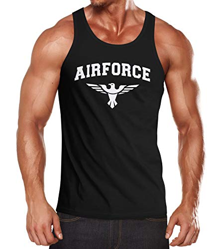 Neverless® Herren Tank-Top Airforce US Army Adler Militär Muskelshirt Muscle Shirt schwarz 3XL